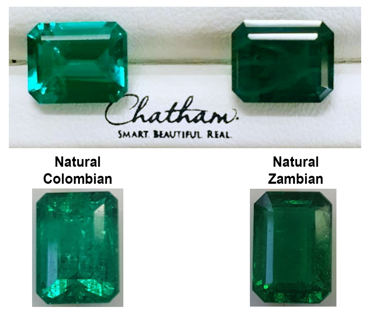Natural v.s Chatham created fine quality emeralds